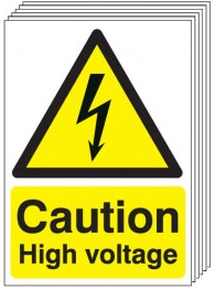Caution High Voltage Signs - 6 Pack SSW0278