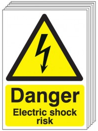 Danger Electric Shock Risk Signs - 6 Pack