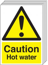 Caution Hot Water Signs - 6 Pack SSW0276