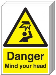 Danger Mind Your Head Signs - 6 Pack