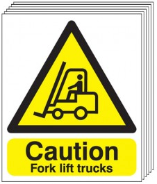 Caution Fork Lift Trucks Signs - 6 Pack SSW0046