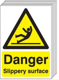 Danger Slippery Surface Signs - 6 Pack SSW0274