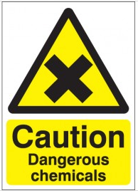 Caution Dangerous Chemicals Signs SSW0044