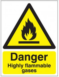 Danger Highly Flammable Gases Signs SSW0243