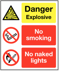 Danger 'no smoking, no naked lights' explosive warning sign SSW0241