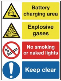 Signs warning of battery charging and explosive gases SSW0230