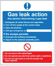 Gas Leak Action Mandatory Safety Sign SSW0223