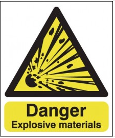 Danger Explosive Materials Warning Sign SSW0221