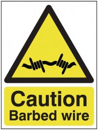 Caution Barbed Wire Signs SSW0040