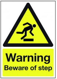 Warning Beware Of Step Black And Yellow Hazard Signs SSW0208