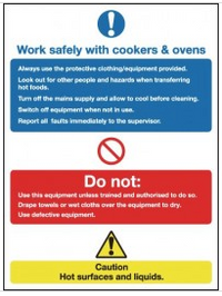 Work safely with cookers & ovens multi-message signs SSW0203