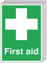 First Aid Signs - 6 Pack SSW0202