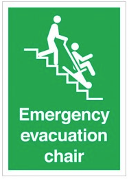 Emergency Evacuation Chair Signs SSW0197