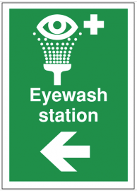 First aid signs for eyewash station and arrow left SSW0191