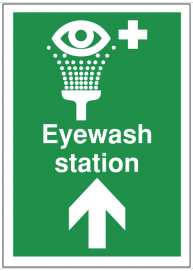 First aid signs for eyewash station and arrow up SSW0190