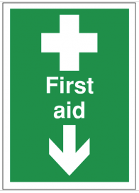 First Aid Signs With Arrow Down SSW0188