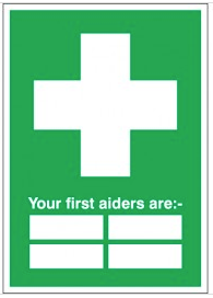 Customisable First Aider Identifier Signs SSW0182