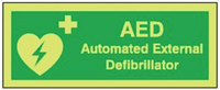 AED photoluminescent health & safety signs SSW0021