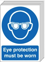 Eye Protection Must Be Worn Signs - 6 Pack SSW0175