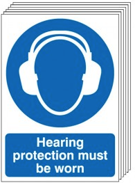 Hearing Protection Must Be Worn Signs - 6 Pack SSW0174