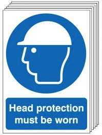 Head Protection Must Be Worn Signs - 6 Pack SSW0172