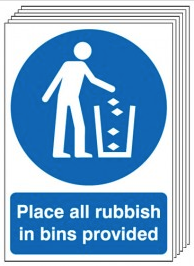Place All Rubbish In Bins Provided 6 Pack Signs SSW0168