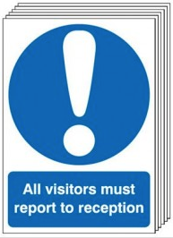 All Visitors Report To Reception Sign 6-Pack SSW0025