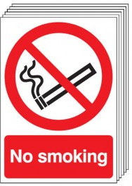 No Smoking Signs - 6 Pack