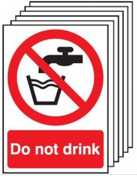 6 Pack of Do Not Drink Signs SSW0018