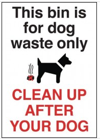 'Clean Up After Your Dog' Warning Sign SSW0003