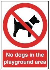 No Dogs in Playground Area Sign SSW0138