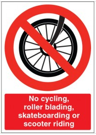 'No cycling, roller blading, skateboarding or scooter riding' SSW0008