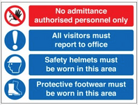 No admittance multi-message safety signs SSW0129