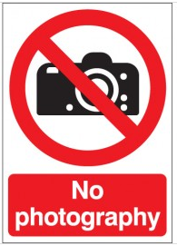 'No Photography' Prohibition Health & Safety Signs SSW0009