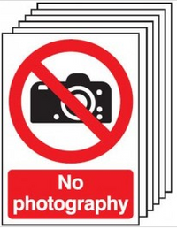 Six Pack No Photography Signs With Camera Symbols