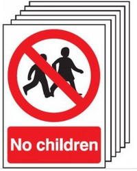 Pack of six signs prohibiting access to children