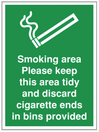 Smoking Area Please Discard Cigarette Ends Sign SSW0104