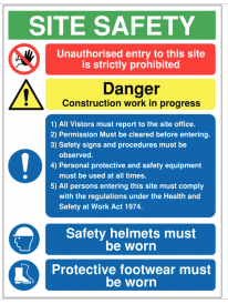 Multi-Message Construction Site Sign with Visitor Information SSW0097
