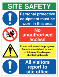 Multi Message Site Safety Signs - PPE Must Be Worn SSW0096