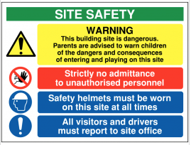 Multi-Message 'This Building Site is Dangerous' Warning Sign SSW0095