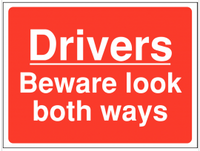 Look both ways sign warning driversSSW0065
