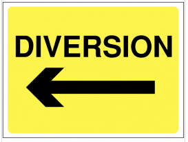 Diversion Arrow Left Construction Sign SSW0063