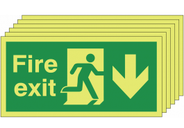 6 pack of Glow in the dark fire exit signs with man running right and down arrow SSW0020