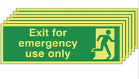 Six pack Glow in the dark  Exit for Emergency Use Only Sign