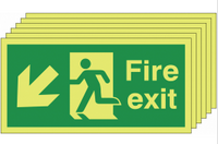 Pack of 6 Glow in the dark down and left man/arrow fire exit signs