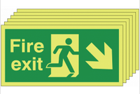 Pack of 6 Glow in the dark down and right man/arrow fire exit signs