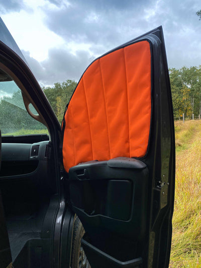 Canada Van Conversions - School Bus Conversions - Skoolie - Ford Transit Van Conversion Window Covers: Medium/High Roof-Window Covers-Paved To Pines-Pavedtopines