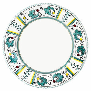 ORVIETO GREEN ROOSTER: 4 Pieces Place Setting - White center