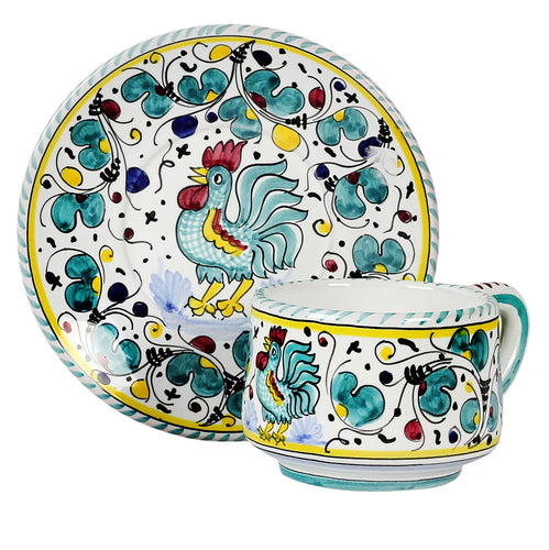 ORVIETO GREEN ROOSTER: Tea/Coffee Cup and Saucer