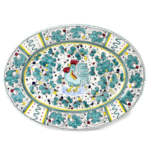 ORVIETO GREEN ROOSTER: Large Oval Platter